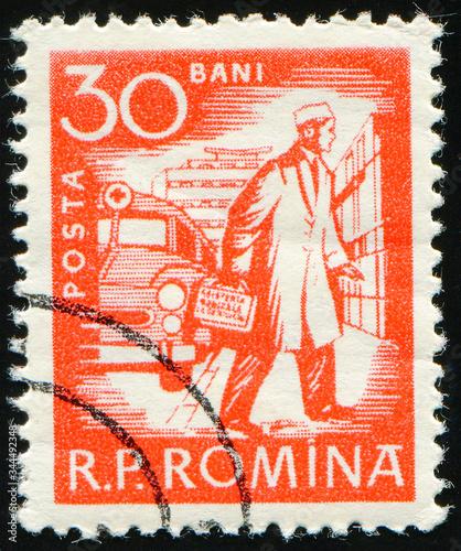 ROMANIA - CIRCA 1960: stamp 30 Romanian bani printed by Romania, shows Doctor, a Wallpaper Mural