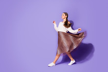 Full Body Profile Side Photo Pretty Girl Go Walk Copyspace Enjoy Beauty Want Attract Handsome Guy Brown Skirt Air Wind Fly Isolated Violet Color Background