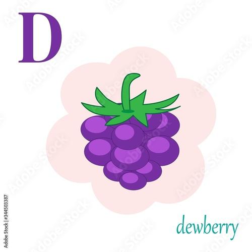 D is for dewberry illustration fruit alphabet Fototapeta
