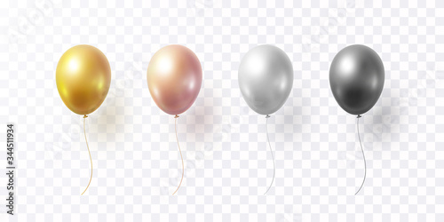 Obraz na plátně Balloon set isolated on transparent background