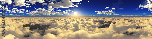 Beautiful clouds, panorama of clouds, above the clouds, clouds from above, flying above, 3D rendering