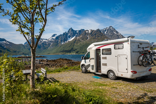 Fotografiet Family vacation travel RV, holiday trip in motorhome