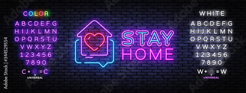 Fotomural Stay Home Neon Sign