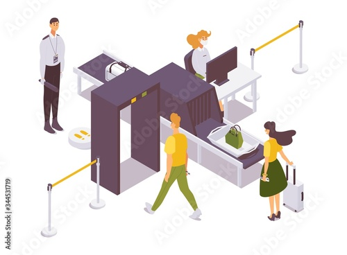 Fotografie, Obraz Airport security checkpoint isometric with guards and passengers