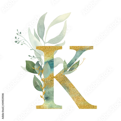 Fototapeta Floral alphabet, letter K with watercolor green and gold  leaf. Perfectly for wedding invitations, greeting card, logo, poster and other design.  obraz na płótnie