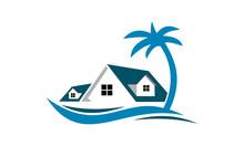 Resort Hotel Beach Vector Logo