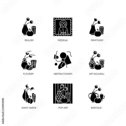 Photo Cultural movements black glyph icons set on white space