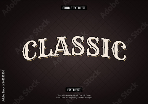 Fototapeta Retro classic text effect, Editable text effect obraz