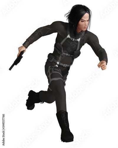 Photo Illustration of a male Asian assassin dressed in black running and carrying a gu