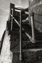 The Old Metal Railings And Sta...