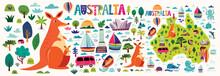 Australia Collection With Australia Map, Animals, Symbols, Architecture Of Sydney