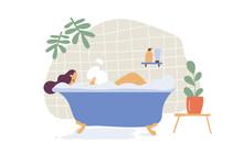 Girl Taking A Bath Flat  Vecto...