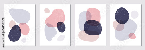 Fototapeta Set of minimal posters with abstract organic shapes composition in trendy contemporary collage style obraz
