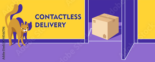 Contactless delivery banner Canvas Print