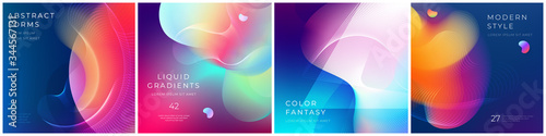 Set of square liquid color abstract geometric shapes Wallpaper Mural