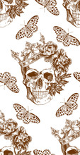 Vintage Brown Skull In Crown With Flowers And Butterflies Seamless Pattern