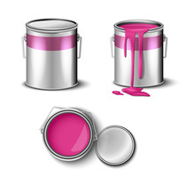 Set Of Paint Can Pink Color  T...