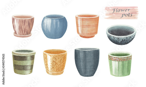 Obraz na plátně Watercolor hand drawn set of flower pots