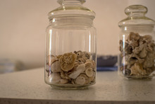 Glass Jar With Sea Shells As A Decor