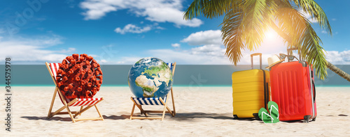 plakat Pair of beach chairs with Coronavirus coronavirus covid-19 epidemic on sand beach with Suitcases, Palm tree, flip-flops, at summer in sunlight