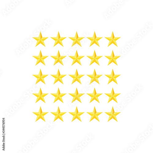Fototapeta set of five star rating symbols  icon vector obraz na płótnie