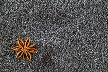 Poppy Seeds, Cinnamon, Anise Star, Dry Lemon On Dark Stone. Spice Stick Food Background. Healthy Breakfast Or Morning Snack Diet Eating Concept.