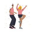 Festive party happy dancing people illustration