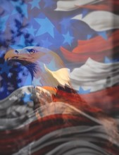 Digital Composite Image Of Bald Eagle And American Flag