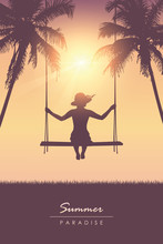 Girl On A Swing On Summer Holiday Tropical Palm Background Vector Illustration EPS10