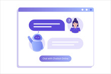 Chatbot Ai And Customer Service Concept. Young Woman Talking With Chatbot In A Big User Interface. Chat Bot Virtual Assistant Via Messaging. Customer Support. Helping. Vector Isolated Illustration