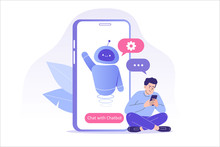 Chatbot Ai And Customer Service Concept. Young Man Talking With Chatbot In A Big Smartphone Screen. Chat Bot Virtual Assistant Via Messaging. Customer Support. Helping. Vector Isolated Illustration