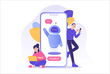 Chatbot Ai And Customer Service Concept. People Talking With Chat Bot In A Big Smartphone Screen. Chat Bot Virtual Assistant Via Messaging. Customer Support. Vector Isolated Illustration