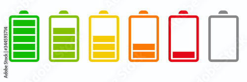 Battery icons set Canvas