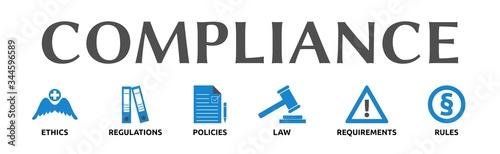 Banner zum Thema: Compliance mit Symbolen Wallpaper Mural