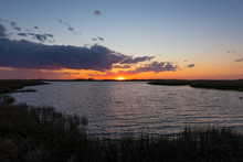Colorful Sunset Over A Bay In Virginia