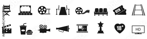Cuadros en Lienzo Cinema icons set vector illustration