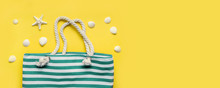 Beach Striped Bag And White Se...