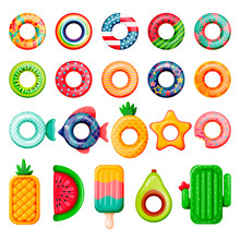 Pool Inflatable Rings And Mattress Set. Vector Illustration. Summer Beach Kids Floating Funny Toys