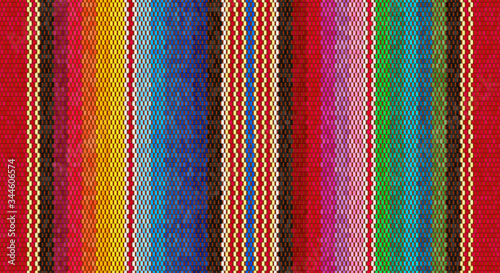 Fototapeta Blanket stripes seamless vector pattern. Background for Cinco de Mayo party decor or ethnic mexican fabric pattern obraz