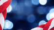 Leinwandbild Motiv United States Flag Border Over Blue and Black Bokeh Lights Background With Copy Space For American Holidays