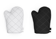 Oven Mitts. Kitchen Oven Gloves Mitts. Top View. Blank 3d Template, Mockup For Branding, Logo, Design Isolated On White Background.