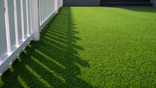 Sunlight And Shadow Of White Wooden Fence On Green Artificial Turf Surface In Front Yard Of Home, Selective Focus With Copy Space