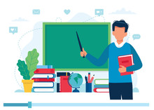 Online Learning Concept. Teacher With Books And Chalkboard, Video Lesson. Vector Illustration In Flat Style