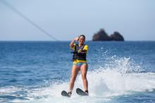 Female Water Skiing In Costa Rica