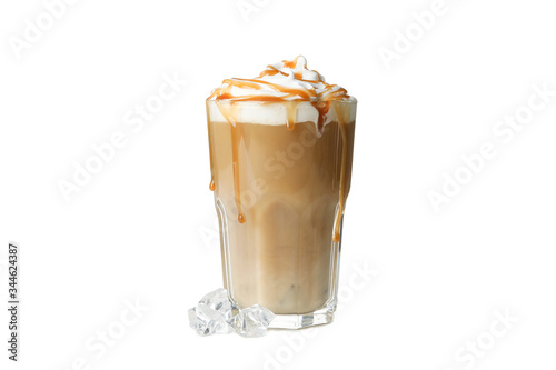 Fotografia, Obraz Iced coffee with poured cream isolated on white background