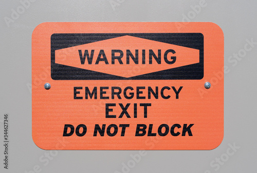 Photo Emergency exit warning sign