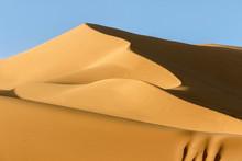 Landscape Of Golden Sand Dune In Sahara Desert