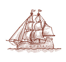Ink And Pen Drawing, Ancient Sail Ship, On White Background