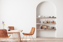 Interior Design Of Modern Dining Room With Orange Furniture And Wooden Table, Scandinavian Style