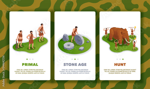 Fotografie, Obraz Prehistoric Vertical Banners Set